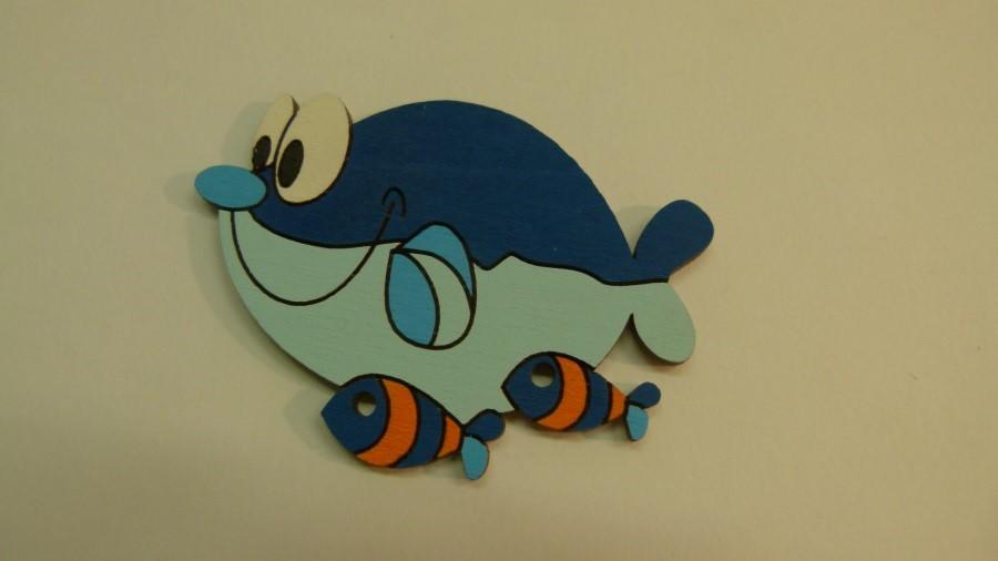 Dřevěná dekorace Velryba s rybičkama 1ks / bal.
