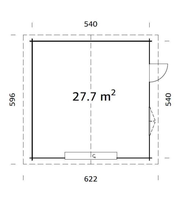 GARAŽ Roger 27,7 m2 + výsuvná vrata 560 x 560 cm tl.  : 70 mm