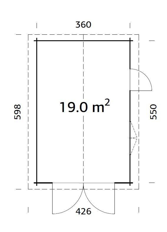 Garáž Roger 19m2 s křídlovými dveřmi  (380x 570cm) tl.  44mm
