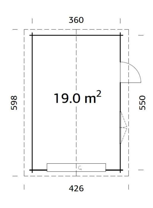 Garáž Roger 19 m2 - výsuvná vrata  (380x 570cm) tl.  44mm