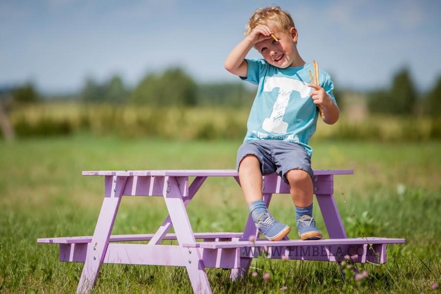 Dětský dřevěný piknikový stůl velký 90x 90x 50cm