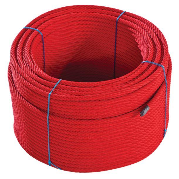 Lano s ocelovou výztuží - červené