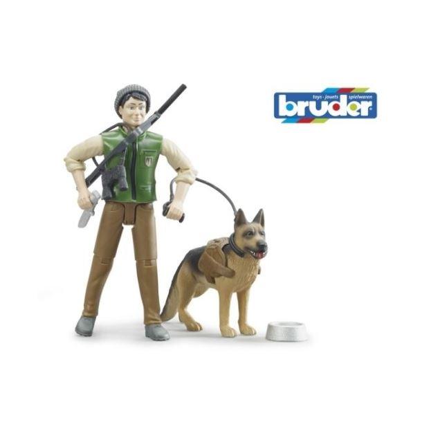 BRUDER - Figurka Myslivce s Německým ovčákem
