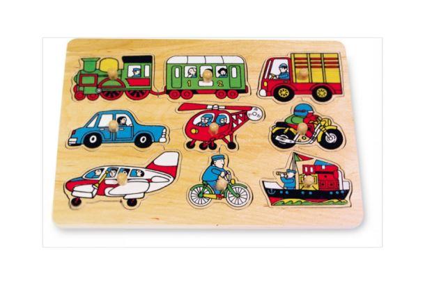 Puzzle dřevěné dopravní prostředky