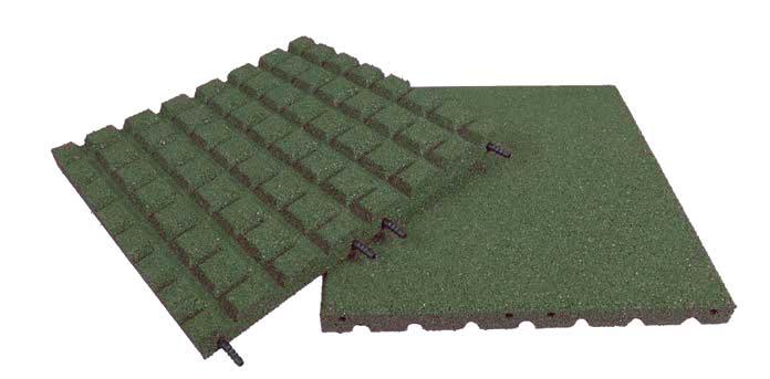 Pryžová deska 1x1m zelená  - výška pádu 2,3 m
