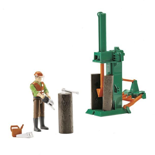 BRUDER BWORLD Dřevařský set - štípačka+ figurka + příslušenství