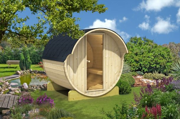 Barelová sauna 220 thermowood, s kamny na dřevo