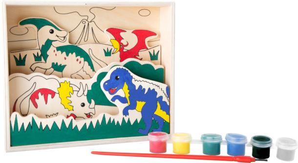 Dinosauři - obrázek dřevěný na malování