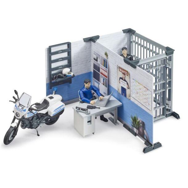 BRUDER - Policejní stanice s figurkami a motorkou