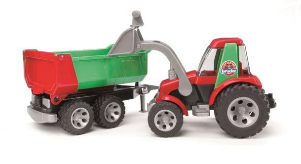 BRUDER-Traktor Roadmax s nakladačem a s klápěcím přívozem