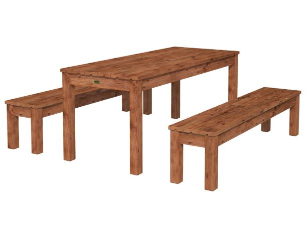 Dřevěný zahradní stůl s lavicemi PALMAKO SANNE 18 - hnědá impregnace
