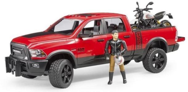 BRUDER - Terénní auto Ram s motorkou a figurkou