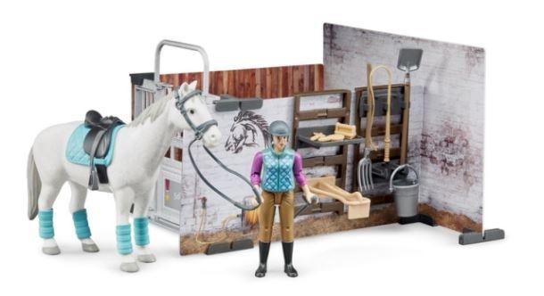 BRUDER Staj s koněm a figurkou