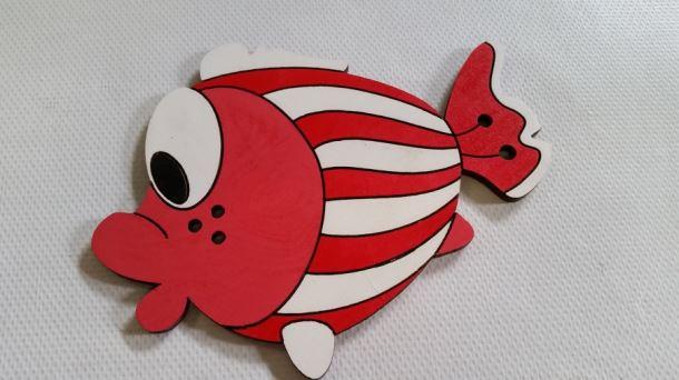 Dřevěná dekorace Ryba červená 115 1ks/bal.