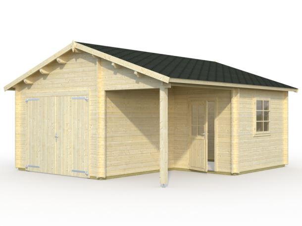 Garáž Roger 21,9 + 5,2 m2 - s dřevěnými dveřmi