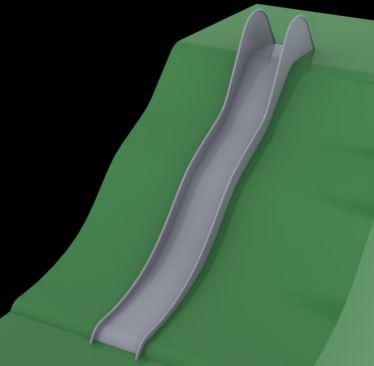 Terénní nerezová skluzavka šíře 50m - s nástupní výškou 2m