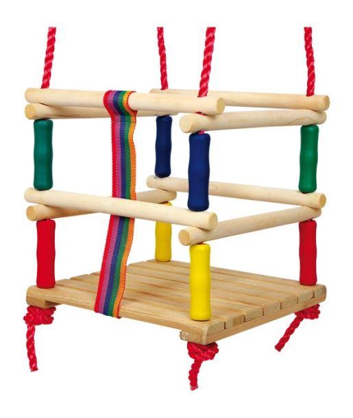 Dřevěná dětská houpačka barevná