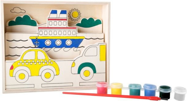 Dopravní prostředky - obrázek dřevěný na vymalování