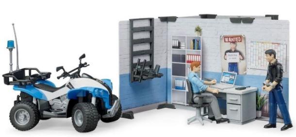 BRUDER - Policejní stanice s figurkami a čtyřkolkou