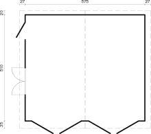 GARÁŽ Roger 28,4 m2 s dřevěnými dveřmi
