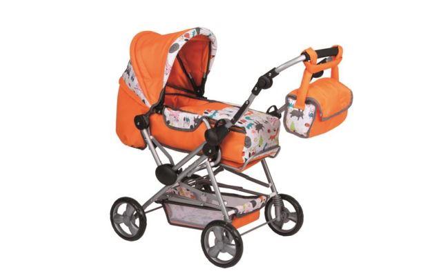 Kombinovaný kočárek pro panenky oranžový
