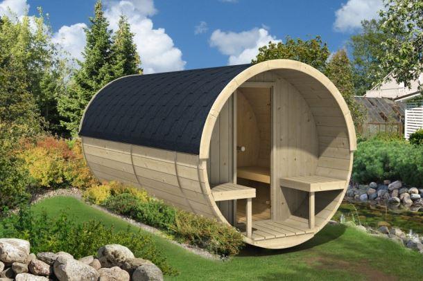 Barelová sauna 400 thermowood, s kamny na dřevo