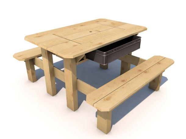 Piknikový stolek Herold s plastovým boxem