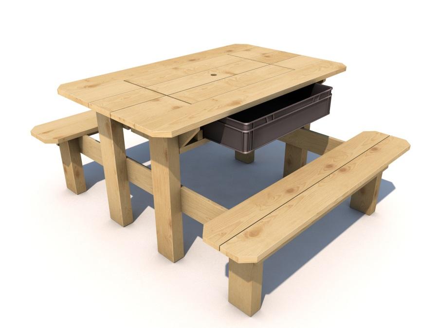 Piknikový stolek Herold IMPREGNOVANÝ s plastovým boxem