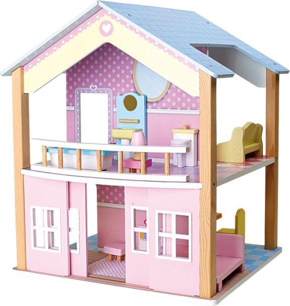 Domeček pro panenky s modrou střechou