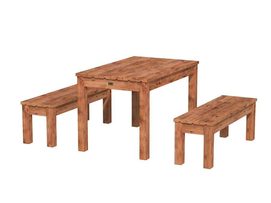 Dřevěný zahradní stůl s lavicemi PALMAKO SANNE 12 - hnědá impregnace