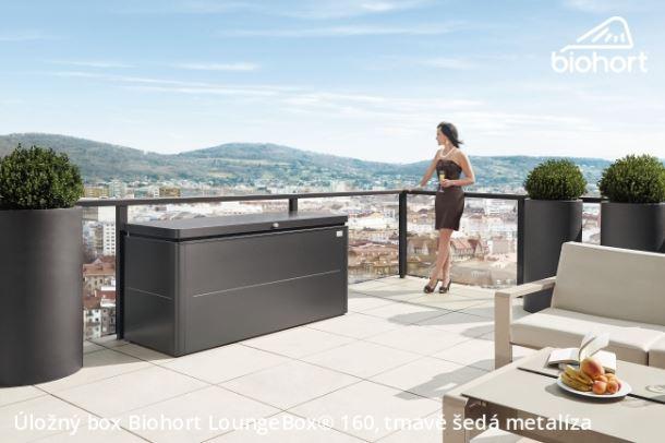Biohort Úložný box LoungeBox® 160, tmavě šedá metalíza