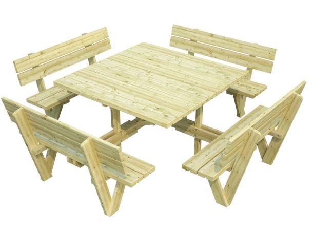 Dřevěný zahradní párty stůl s lavicemi PALMAKO ARTHUR - zelená impregnace