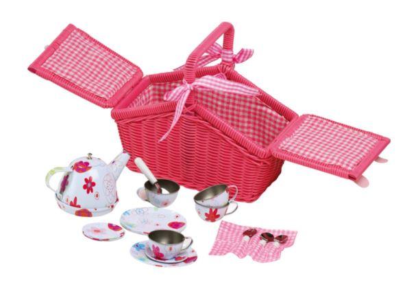 Piknikový košík s plechovým nádobím