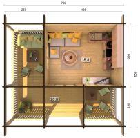 Zahradní chata AGNETA 18,8 + 28,8 m2
