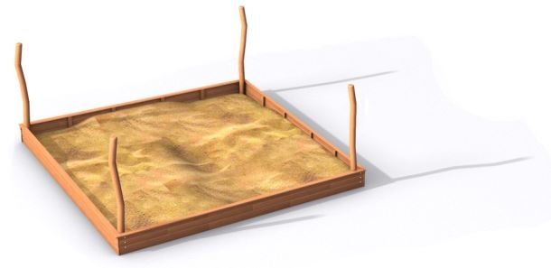 Pískoviště Big 2x2 m  s kůly na zavěšení stínění  z akátu