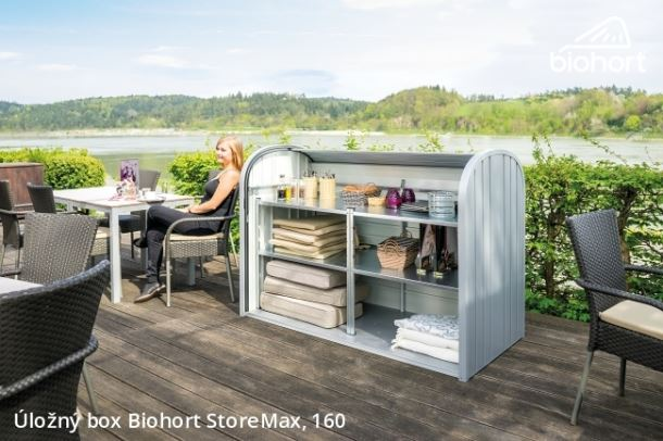 Biohort Úložný box StoreMax® 160, šedý křemen metalíza