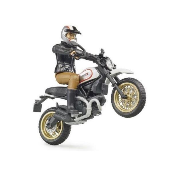 BRUDER - Motocykl Scrambler Ducati Cafe Racer s jezdcem
