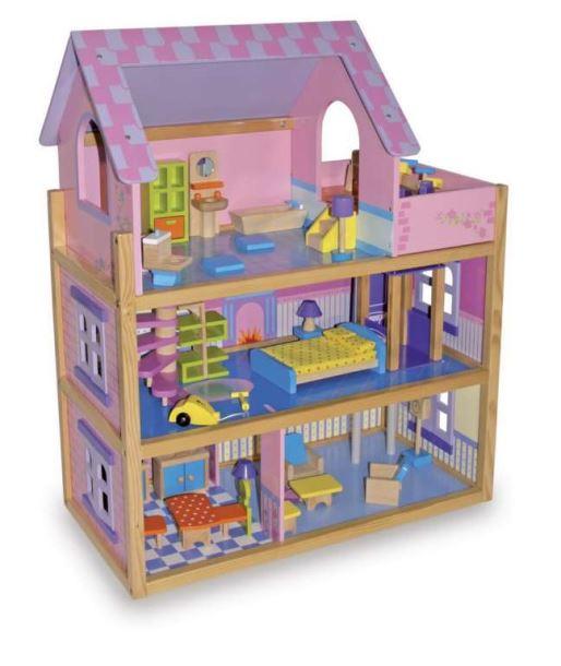 Domeček pro panenky - Velký s výtahem Pinky