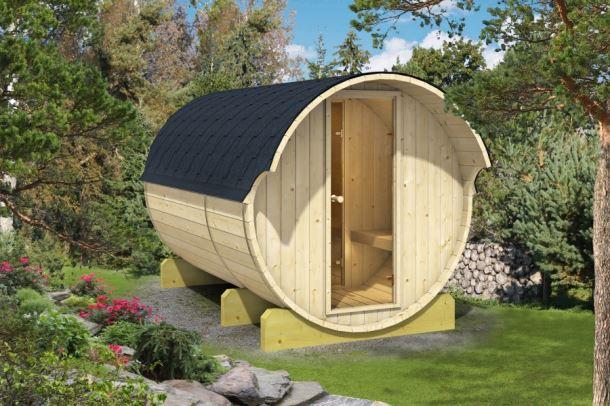 Barelová sauna 330 thermowood, s kamny na dřevo