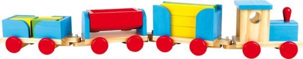 Dřevěný vlak stavební kostky