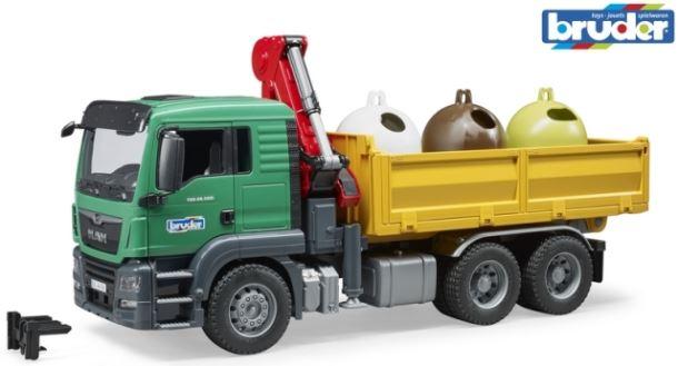 BRUDER Nákladní auto MAN TGW s ramenem a 3 kontejnery