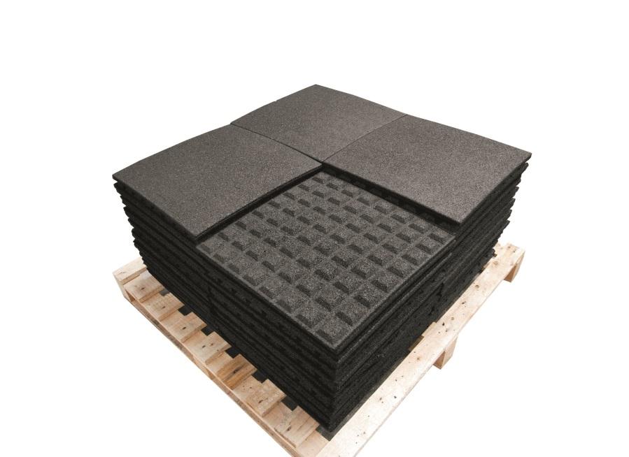 Pryžová deska 0,5x0,5 m černá - výška pádu 1m