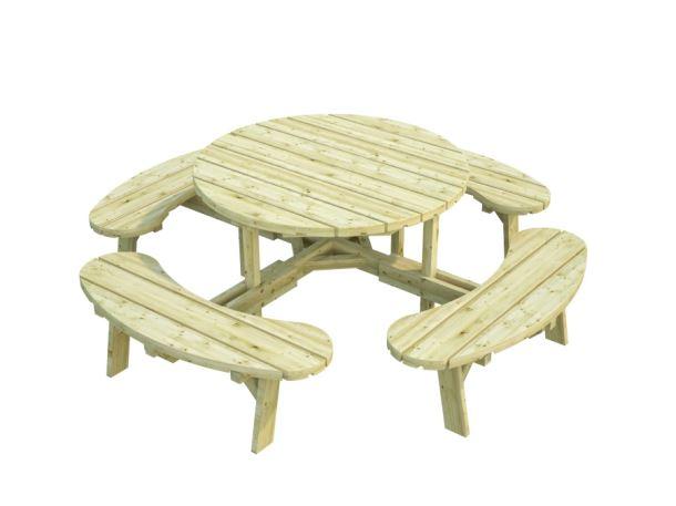 Dřevěný zahradní párty stůl s lavicemi PALMAKO OSCAR - hnědá impregnace